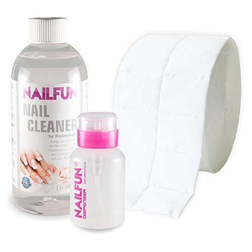Nail Cleaner 500ml (99,9% Isopropanol) + 500 Zelletten (1 Rolle) + 1 Pumpflasche